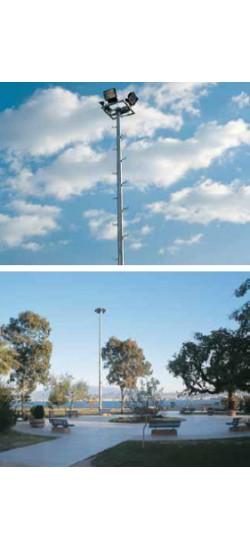 Tırmanma basamaklı Platformlu Projektör Direği